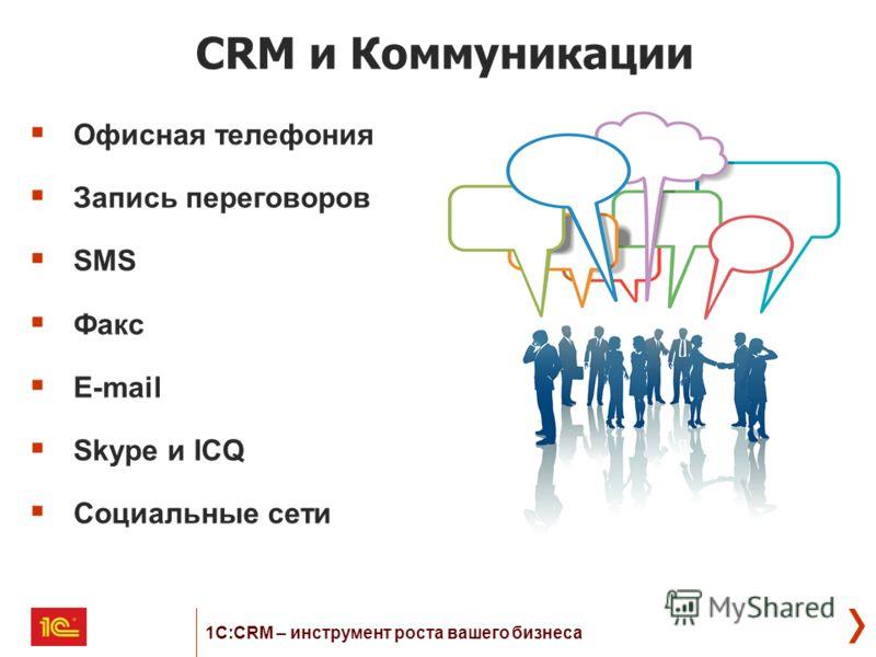 CRM и Коммуникации Офисная телефония Запись переговоров SMS Факс E-mail Skype и ICQ Социальные сети 1С:CRM – инструмент роста вашего бизнеса