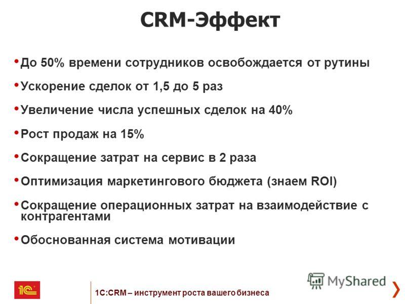 CRM-Эффект До 50% времени сотрудников освобождается от рутины Ускорение сделок от 1,5 до 5 раз Увеличение числа успешных сделок на 40% Рост продаж на 15% Сокращение затрат на сервис в 2 раза Оптимизация маркетингового бюджета (знаем ROI) Сокращение о