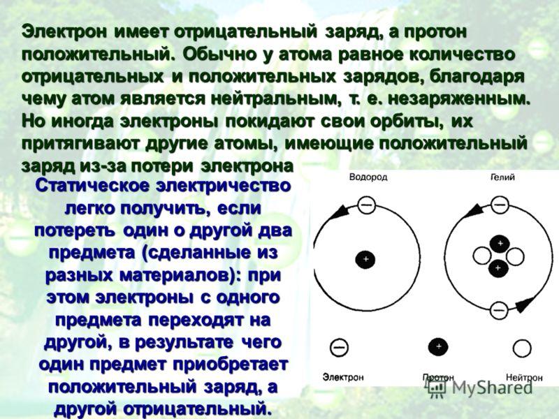 Электрон имеет отрицательный заряд, а протон положительный. Обычно у атома равное количество отрицательных и положительных зарядов, благодаря чему атом является нейтральным, т. е. незаряженным. Но иногда электроны покидают свои орбиты, их притягивают