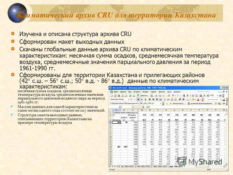 Климатический архив CRU для территории Казахстана Изучена и описана структура архива CRU Сформирован макет выходных данных Скачаны глобальные данные архива CRU по климатическим характеристикам: месячная сумма осадков, среднемесячная температура возду