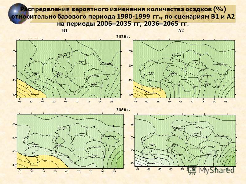 Распределения вероятного изменения количества осадков (%) относительно базового периода 1980-1999 гг., по сценариям В1 и А2 на периоды 2006–2035 гг, 2036–2065 гг. В1А2 2020 г. 2050 г.