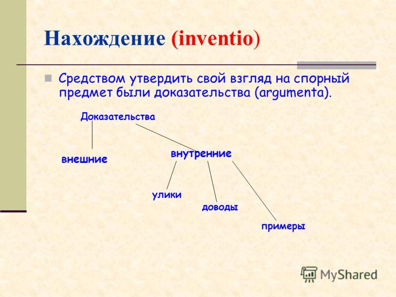 Нахождение (inventio) Средством утвердить свой взгляд на спорный предмет были доказательства (argumenta). улики доводы примеры внешние внутренние Доказательства
