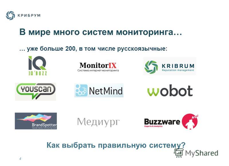 В мире много систем мониторинга… 4 Как выбрать правильную систему? … уже больше 200, в том числе русскоязычные: