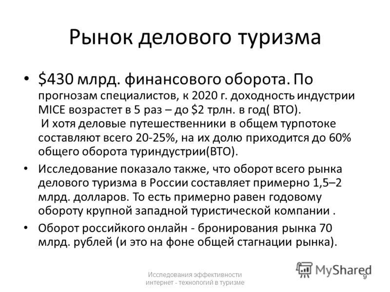 Рынок делового туризма $430 млрд. финансового оборота. По прогнозам специалистов, к 2020 г. доходность индустрии MICE возрастет в 5 раз – до $2 трлн. в год( ВТО). И хотя деловые путешественники в общем турпотоке составляют всего 20-25%, на их долю пр