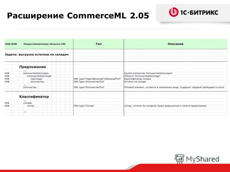 Расширение CommerceML 2.05