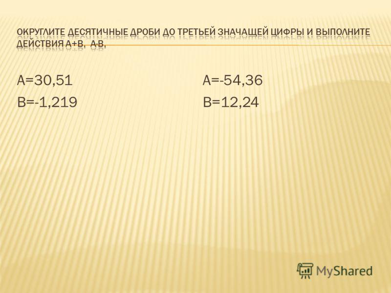 А=30,51 В=-1,219 А=-54,36 В=12,24