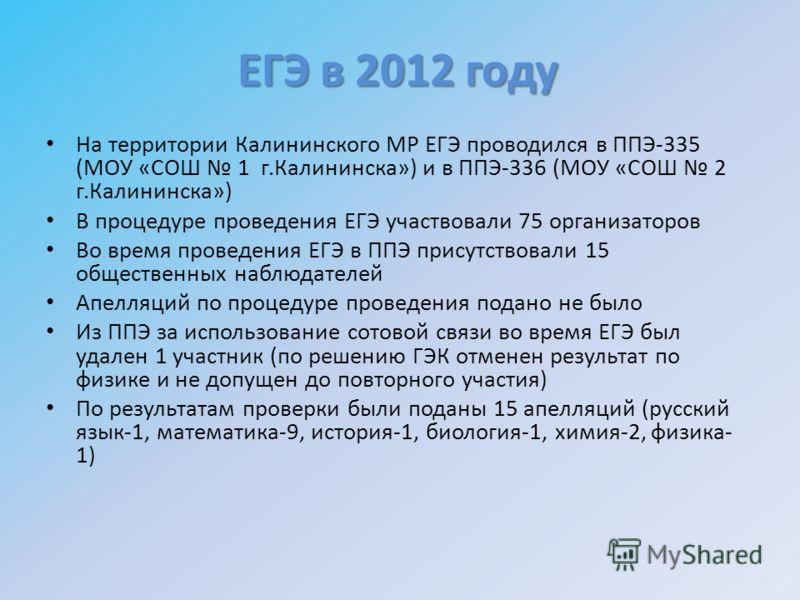 На территории Калининского МР ЕГЭ проводился в ППЭ-335 (МОУ «СОШ 1 г.Калининска») и в ППЭ-336 (МОУ «СОШ 2 г.Калининска») В процедуре проведения ЕГЭ участвовали 75 организаторов Во время проведения ЕГЭ в ППЭ присутствовали 15 общественных наблюдателей