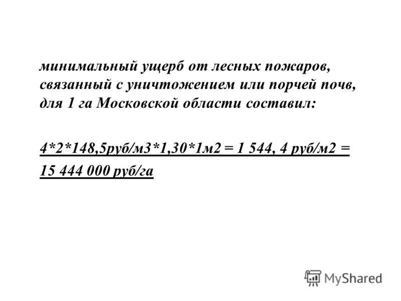 минимальный ущерб от лесных пожаров, связанный с уничтожением или порчей почв, для 1 га Московской области составил: 4*2*148,5руб/м3*1,30*1м2 = 1 544, 4 руб/м2 = 15 444 000 руб/га