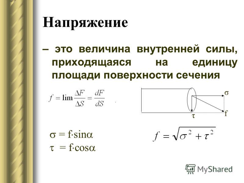 Напряжение – это величина внутренней силы, приходящаяся на единицу площади поверхности сечения. τ σ f = f sin = f сos