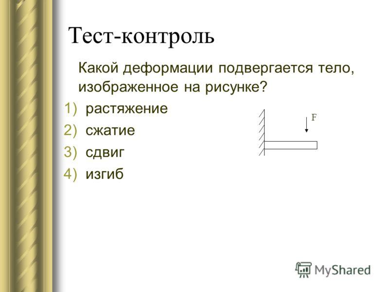 Тест-контроль Какой деформации подвергается тело, изображенное на рисунке? 1)растяжение 2)сжатие 3)сдвиг 4)изгиб F