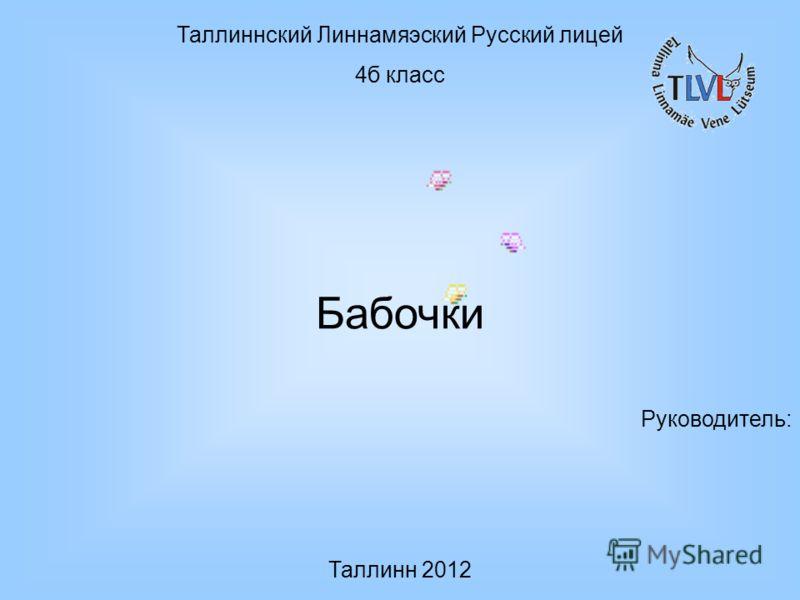 Таллиннский Линнамяэский Русский лицей 4б класс Бабочки Руководитель: Таллинн 2012
