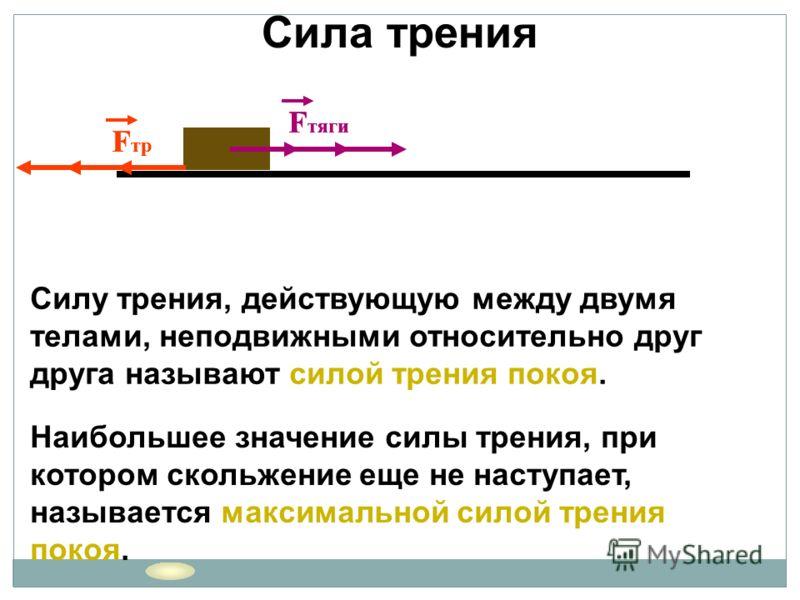 F тяги F тр F тяги F тр F тяги F тр Cилу трения, действующую между двумя телами, неподвижными относительно друг друга называют силой трения покоя. Наибольшее значение силы трения, при котором скольжение еще не наступает, называется максимальной силой