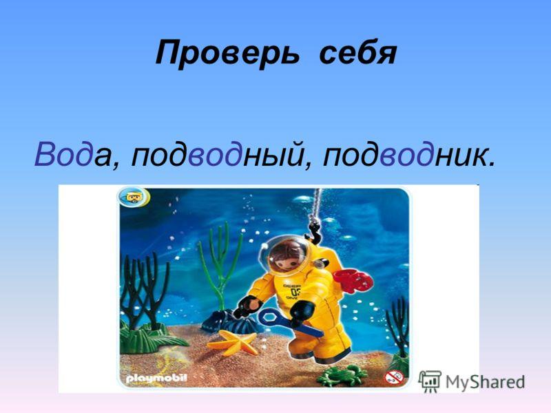 Проверь себя Вода, подводный, подводник.