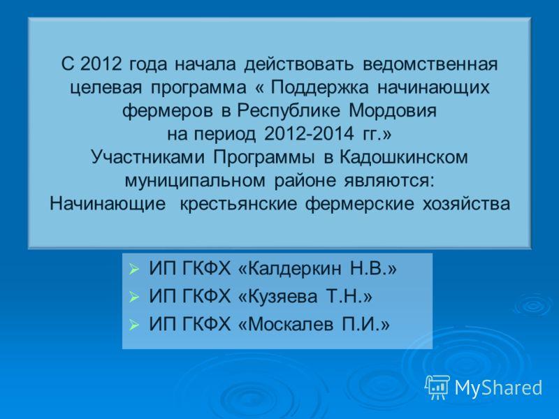 С 2012 года начала действовать ведомственная целевая программа « Поддержка начинающих фермеров в Республике Мордовия на период 2012-2014 гг.» Участниками Программы в Кадошкинском муниципальном районе являются: Начинающие крестьянские фермерские хозяй