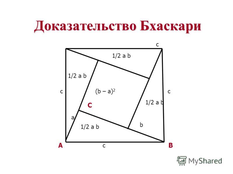 Доказательство Бхаскари B c A c C 1/2 a b (b – a) 2 a c b c 1/2 a b
