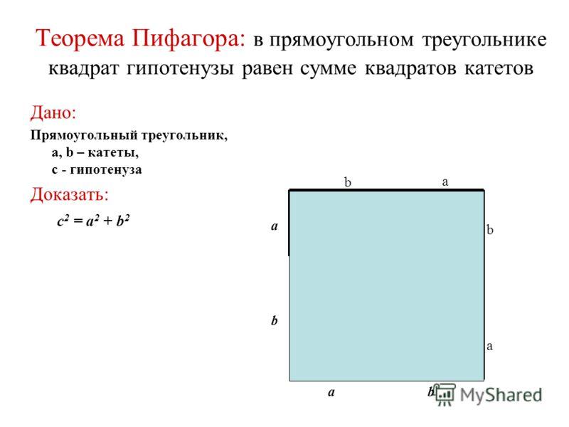 Теорема Пифагора: в прямоугольном треугольнике квадрат гипотенузы равен сумме квадратов катетов Дано: Прямоугольный треугольник, a, b – катеты, с - гипотенуза Доказать: c 2 = a 2 + b 2 a a b c b b a b a