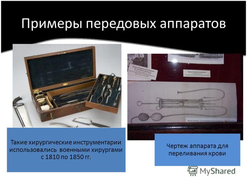 Примеры передовых аппаратов Чертеж аппарата для переливания крови Такие хирургические инструментарии использовались военными хирургами с 1810 по 1850 гг.