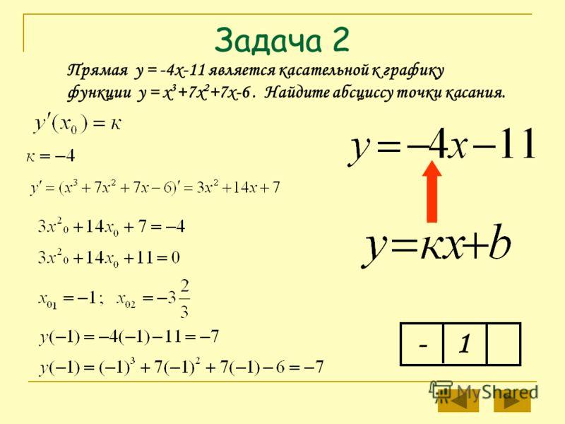 Задача 2 Прямая у = -4х-11 является касательной к графику функции у = х 3 +7х 2 +7х-6. Найдите абсциссу точки касания. -1