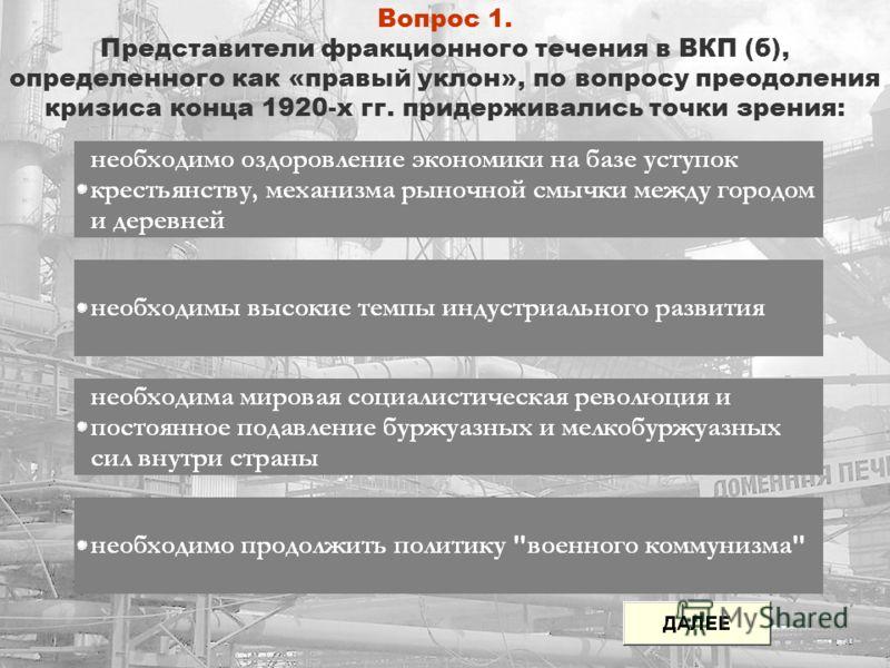 Вопрос 1. Представители фракционного течения в ВКП (б), определенного как «правый уклон», по вопросу преодоления кризиса конца 1920-х гг. придерживались точки зрения: