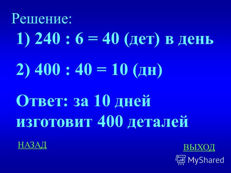 ЗАДАЧИ 200 Рабочий изготовляет 240 детали за 6 дней. Сколько времени потребуется рабочему для изготовления 400 деталей. ответ
