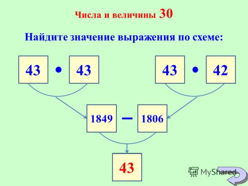 Числа и величины 30 Найдите значение выражения по схеме: 43 42 43 18491806