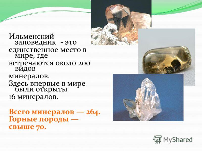 Ильменский заповедник - это единственное место в мире, где встречаются около 200 видов минералов. Здесь впервые в мире были открыты 16 минералов. Всего минералов 264. Горные породы свыше 70.