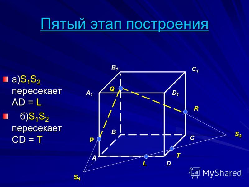 Пятый этап построения а)S 1 S 2 пересекает AD = L б)S 1 S 2 пересекает CD = T б)S 1 S 2 пересекает CD = T A B D A1A1A1A1 B1B1B1B1 C1C1C1C1 D1D1D1D1 P Q R S1S1S1S1 C S2S2S2S2 L T