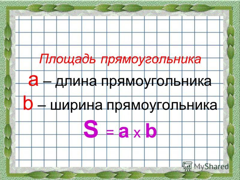 Площадь прямоугольника a – длина прямоугольника b – ширина прямоугольника S = a х b