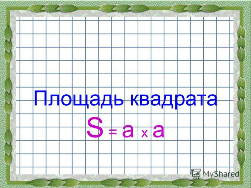 Площадь квадрата S = a x a