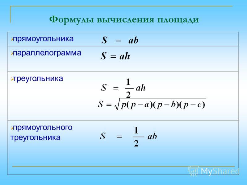 Формулы вычисления площади прямоугольника параллелограмма треугольника прямоугольного треугольника