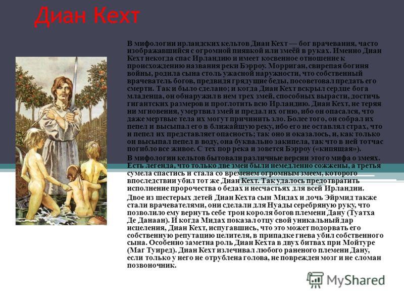 Диан Кехт В мифологии ирландских кельтов Диан Кехт бог врачевания, часто изображавшийся с огромной пиявкой или змеёй в руках. Именно Диан Кехт некогда спас Ирландию и имеет косвенное отношение к происхождению названия реки Бэрроу. Морриган, свирепая