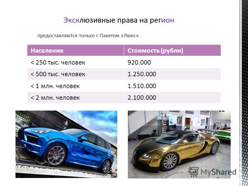 Эксклюзивные права на регион предоставляются только c Пакетом «Люкс». НаселениеСтоимость (рубли) < 250 тыс. человек920.000 < 500 тыс. человек1.250.000 < 1 млн. человек1.510.000 < 2 млн. человек2.100.000