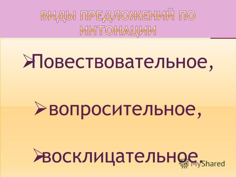Предложение о ком-либо или о чём-либо сообщает (повествовательное); содержит вопрос (вопросительное); Содержит просьбу, побуждает к действию(восклицательное).