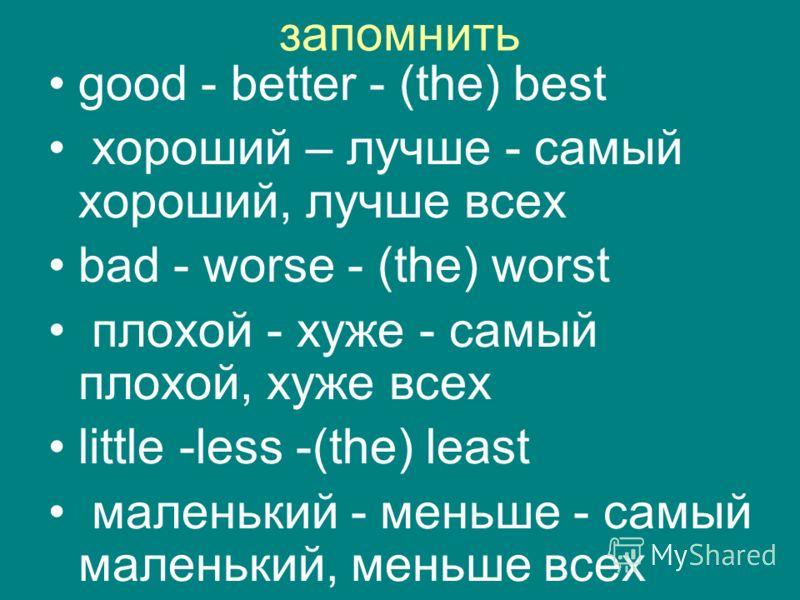 запомнить good - better - (the) best хороший – лучше - самый хороший, лучше всех bad - worse - (the) worst плохой - хуже - самый плохой, хуже всех little -less -(the) least маленький - меньше - самый маленький, меньше всех