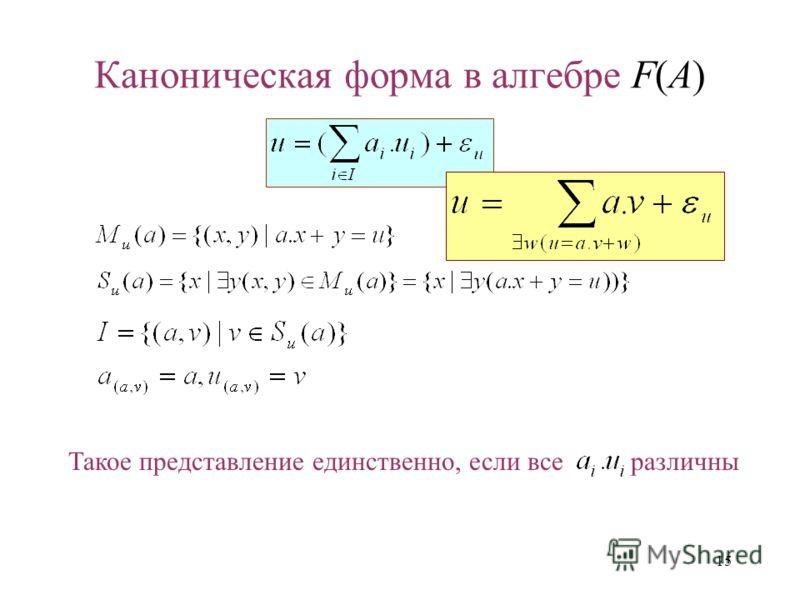 15 Каноническая форма в алгебре F(A) Такое представление единственно, если все различны