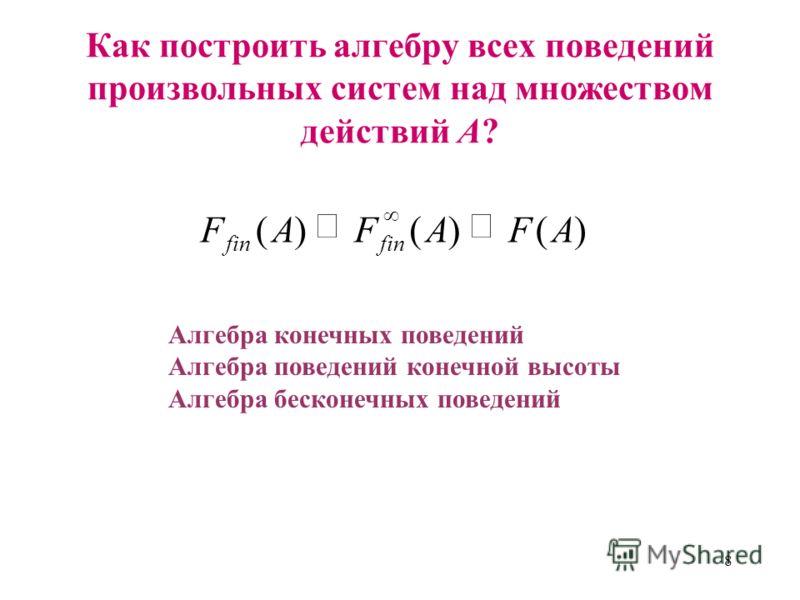 8 Как построить алгебру всех поведений произвольных систем над множеством действий А? )()()(AFAFAF fin Алгебра конечных поведений Алгебра поведений конечной высоты Алгебра бесконечных поведений