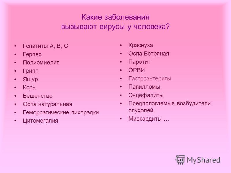 Какие заболевания вызывают вирусы у человека? Гепатиты А, В, С Герпес Полиомиелит Грипп Ящур Корь Бешенство Оспа натуральная Геморрагические лихорадки Цитомегалия Краснуха Оспа Ветряная Паротит ОРВИ Гастроэнтериты Папилломы Энцефалиты Предполагаемые