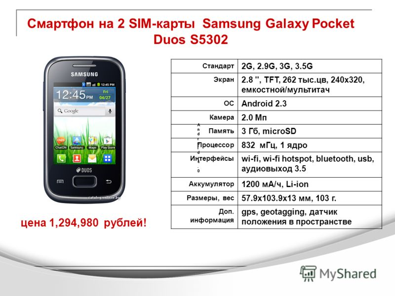 Смартфон на 2 SIM-карты Samsung Galaxy Pocket Duos S5302 цена 1,294,980 рублей! Android 4.0Android 4.0 Android 4.0Android 4.0 Android 4.0Android 4.0 Android 4.0Android 4.0 Android 4.0Android 4.0 Стандарт 2G, 2.9G, 3G, 3.5G Экран 2.8 '', TFT, 262 тыс.