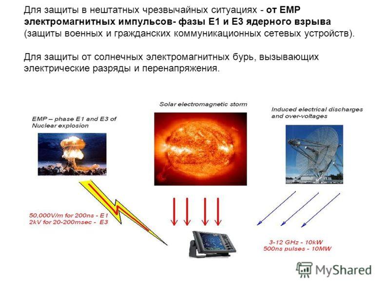 Для защиты в нештатных чрезвычайных ситуациях - от EMP электромагнитных импульсов- фазы E1 и E3 ядерного взрыва (защиты военных и гражданских коммуникационных сетевых устройств). Для защиты от солнечных электромагнитных бурь, вызывающих электрические