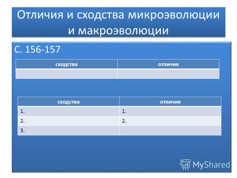 Отличия и сходства микроэволюции и макроэволюции С. 156-157 сходстваотличия 1. 2. 3. сходстваотличия
