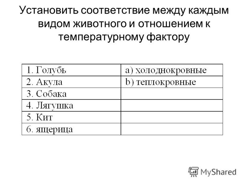 Установить соответствие между каждым видом животного и отношением к температурному фактору