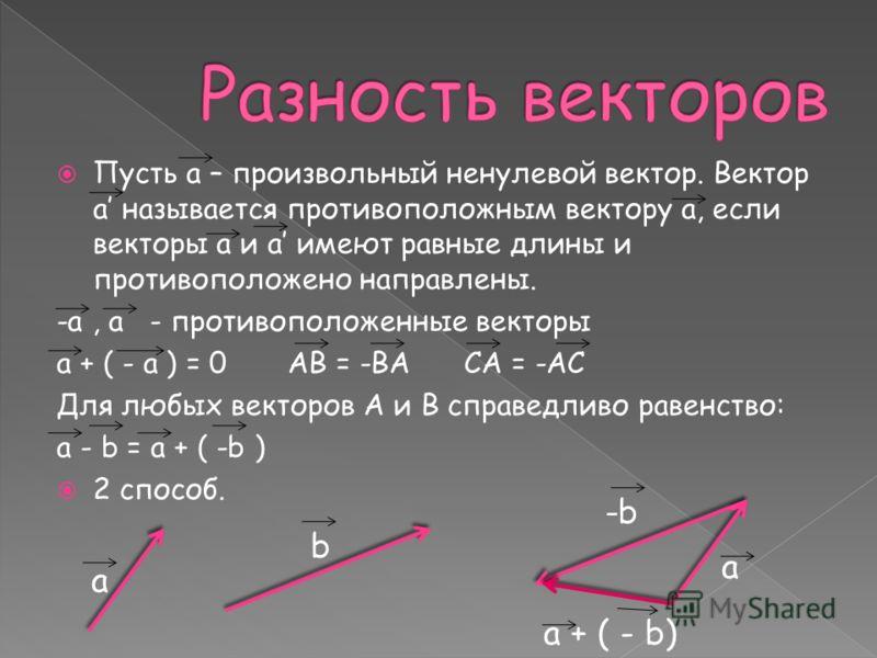 Пусть а – произвольный ненулевой вектор. Вектор а называется противоположным вектору а, если векторы а и а имеют равные длины и противоположено направлены. -а, а - противоположенные векторы а + ( - а ) = 0 АВ = -ВА СА = -АС Для любых векторов А и В с