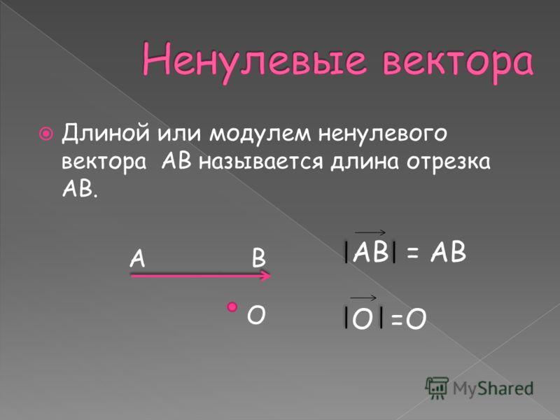 Длиной или модулем ненулевого вектора AB называется длина отрезка AB. АВ О АВ = АВ О =О
