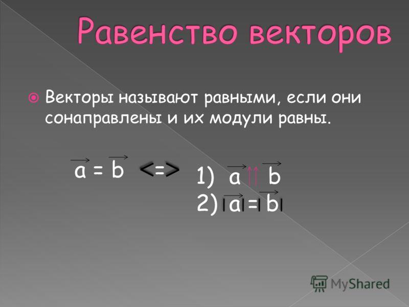 Векторы называют равными, если они сонаправлены и их модули равны. a = b= 1)a b 2)a = b