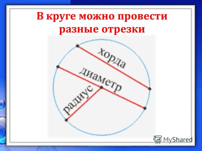 В круге можно провести разные отрезки