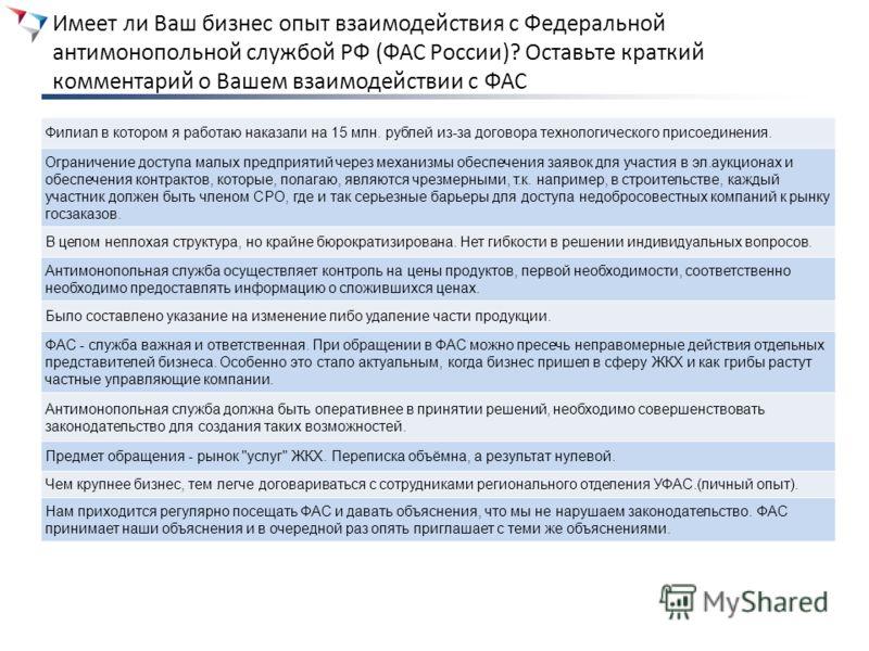 Имеет ли Ваш бизнес опыт взаимодействия с Федеральной антимонопольной службой РФ (ФАС России)? Оставьте краткий комментарий о Вашем взаимодействии с ФАС Филиал в котором я работаю наказали на 15 млн. рублей из-за договора технологического присоединен