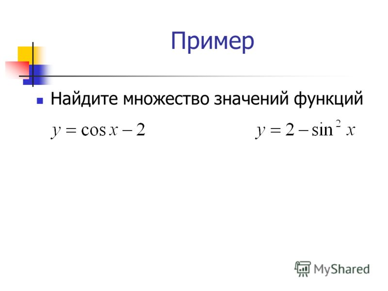 Пример Найдите множество значений функций