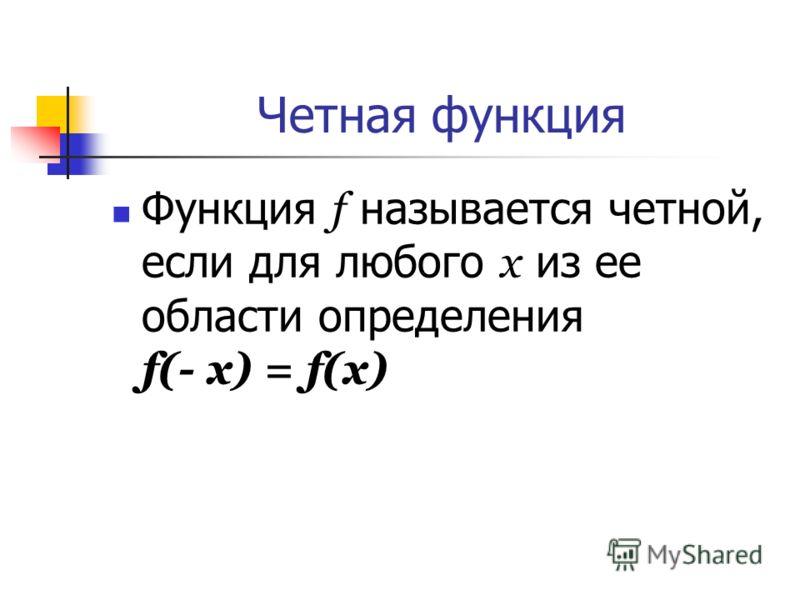 Четная функция Функция f называется четной, если для любого х из ее области определения f(- x) = f(x)