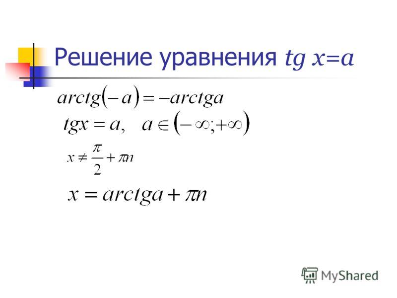 Решение уравнения tg x=a