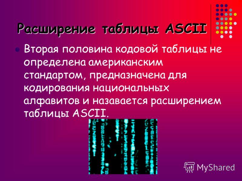 В базовой таблице за кодами с 0 по 32 закреплены специальные функции: нажатие клавиши Enter, Bs, управление курсором, ввод пробела и т.д. Коды с 33 по 127 соответствуют символам: !, #, $, цифрам, знакам арифметических операций, знакам препинания и си